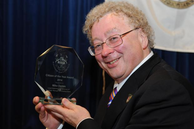 Historian – Mike Davies clutches his award