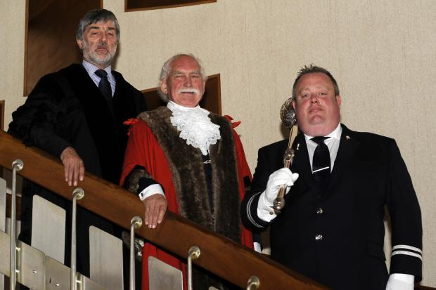 Southend Council town clerk Rob Tinlin, new mayor Chris Walker and mace bearer Adam Tregoning