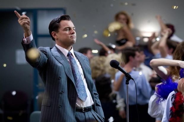 Leonardo di Caprio as conman Jordan Belfont in hit film the Wolf of Wall Street