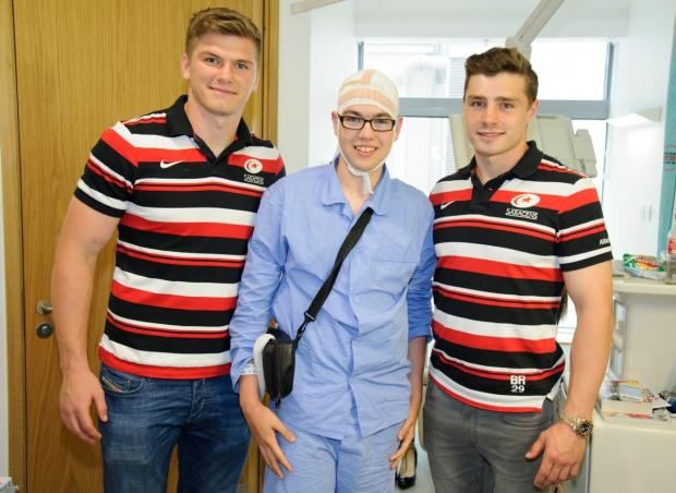 Seeing stars – Freddie Theobald with rugby aces Owen Farrell, left, and Ben Ransom