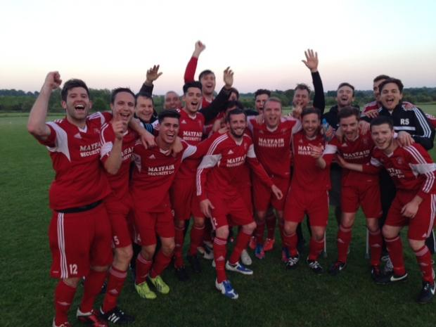 Rob Small celebrates winning the league with previous club Southminster St Leonards