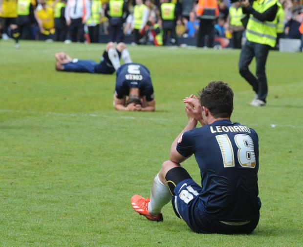 Echo: Gutted - Ryan Leonard and Ben Coker show their emotions at the final whistle