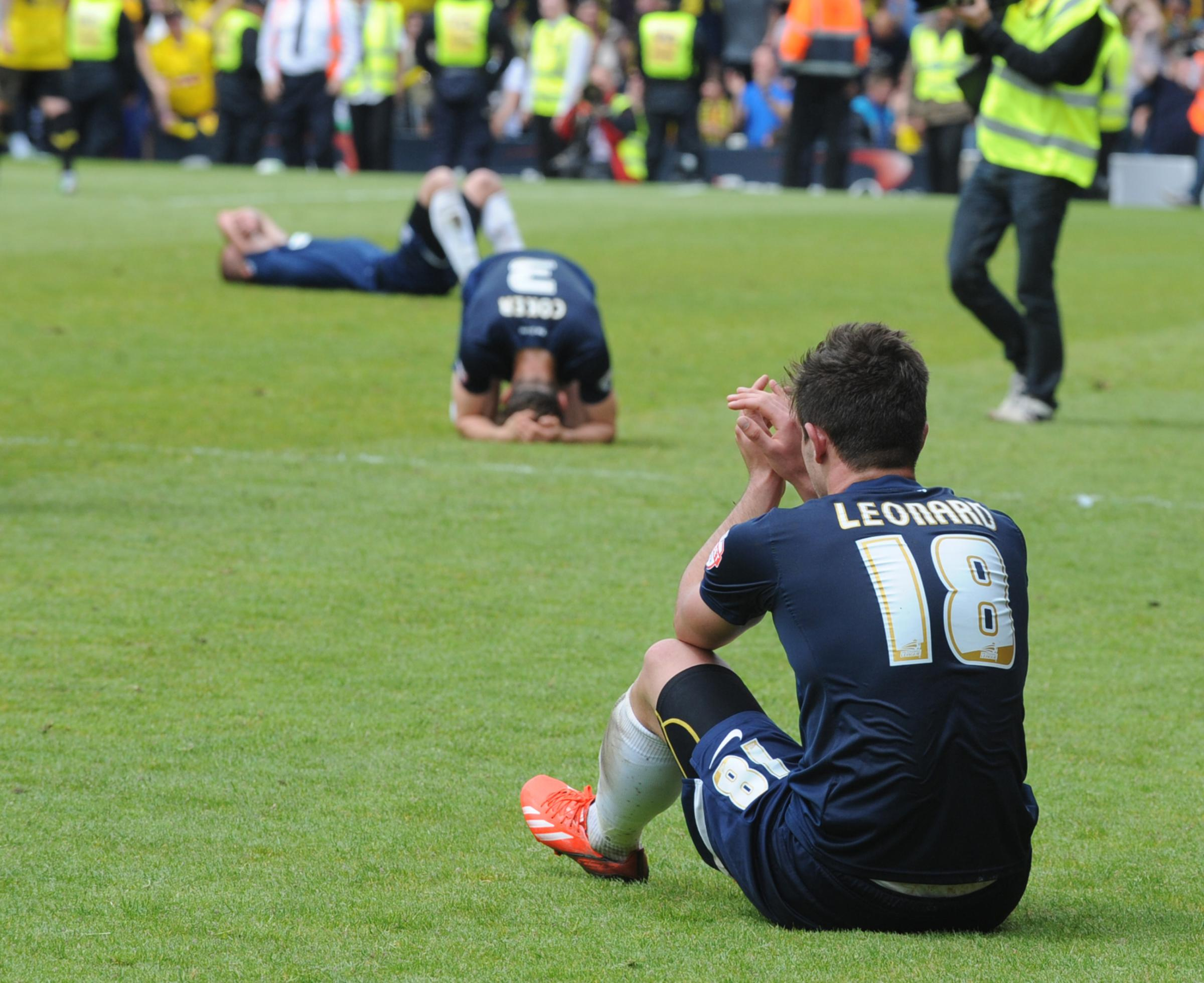 Gutted - Ryan Leonard and Ben Coker show their emotions at the final whistle