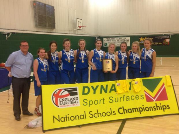 Number one in the land – Greensward's under-15 team, from left, Mr Stevenson (coach), Summer Osbourne, Lauren Allen, Amber Evans, Rhian Simpson, Zoe Willis, Georgia Logan, Chelsea Locke, Ria Toovey and Carmen Fribbins