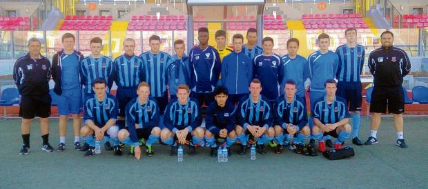 The Southend-based Burnham Ramblers academy team at the Maltese national stadium. Dave Thompson is on the far left and Leon Woodford on the right