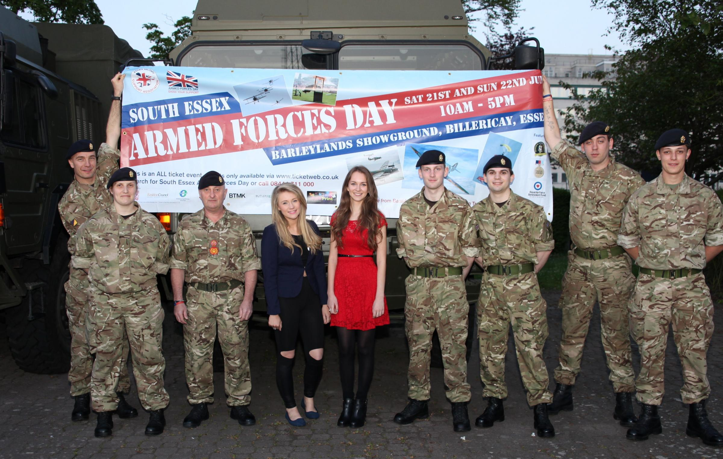 Big event – singers Luciee Closier and Marilena Gant with troops from 151 Essex Regiment, Royal Logistic Corps, based at Brentwood