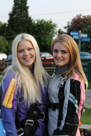 Skydivers – Sophie May-Gander and Katie Isaac prepare for the jump