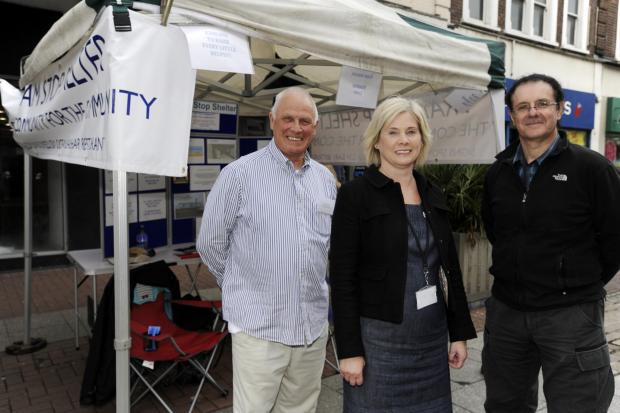 Echo: On track – Tram Stop's Bob Craven and Frank Summers with Alison Semmence, chief officer at Southend's volunteer centre