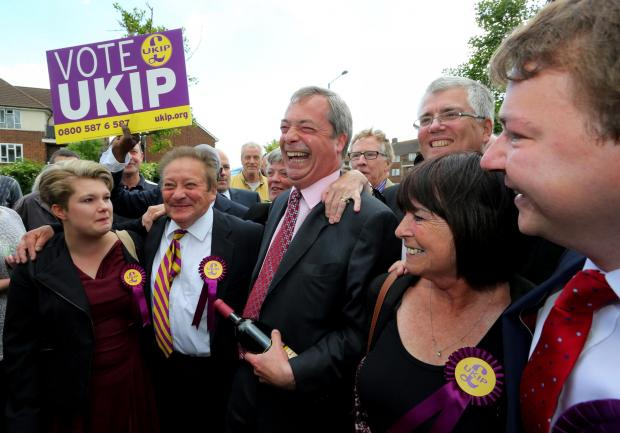 Celebrations – Ukip leader Nigel Farage meets new councillors in South Ockendon