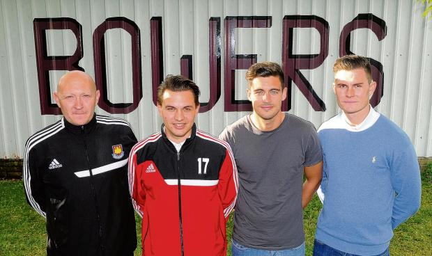 Bowers' new management team of (l-r) coach Mark Hunter, manager Rob Small, player/coach Stuart Fergus and assistant manager Harry Stevens