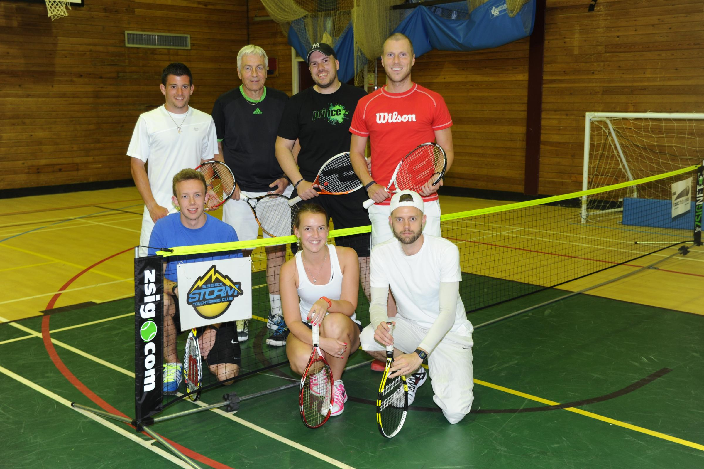 Great game — (l-r) Matt Pearce, Lewis Baker, Simon Mayes, Christine Horne, Dave Capper, Nick Bohringer and Luke Mayes play touchtennis at Seevic College