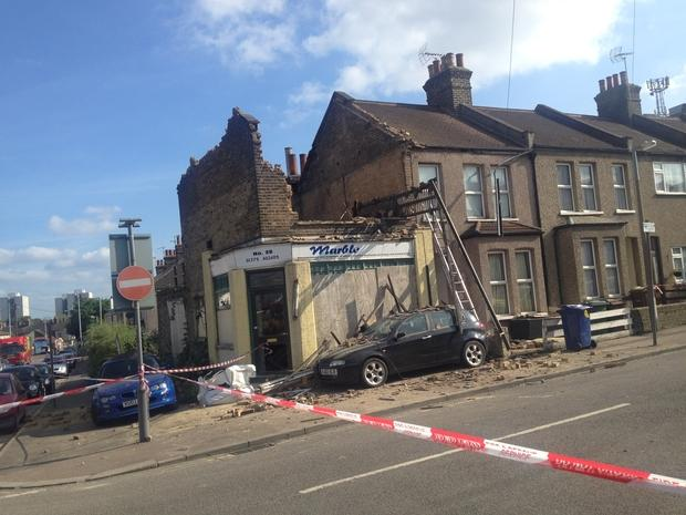 The collapsed corner shop, which is understood to have been derelict for years
