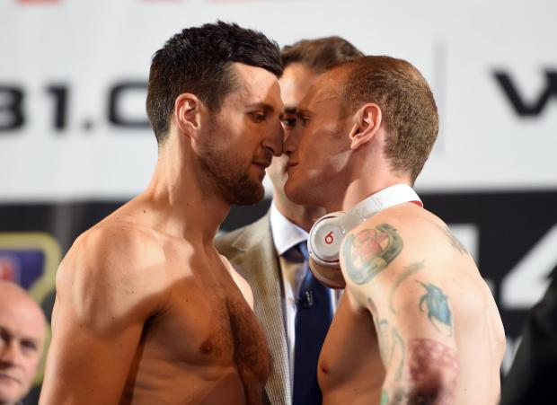Carl Froch and George Groves at the weigh-in on Friday