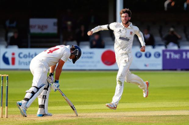 Reece Topley celebrates the wicket of Chris Cooke, his sixth of the innings. PICTURES: GAVIN ELLIS/TGS PHOTOS