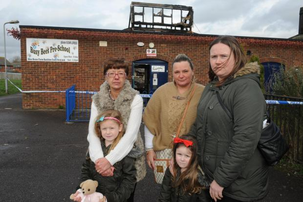 Waiting for news – managers Tracey Hill and Donna Surridge with Donna Locke (right) and her daughters, Paige, six and Chloe Halls, fou