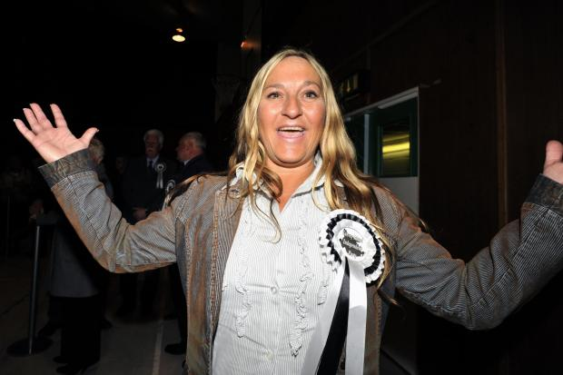 Gail Barton celebrating her election in 2012