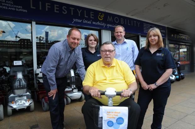 Echo: Valuable service – left to right, company director Aaron Sverdloff, sales assistant Emily Parker, customer Stan Shaw, business development manager Simon Greenway, and company secretary Beverley Packer