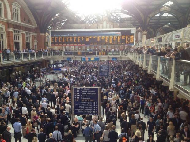 Commuters at Liverpool Street Station. Picture courtesy of @jessloov