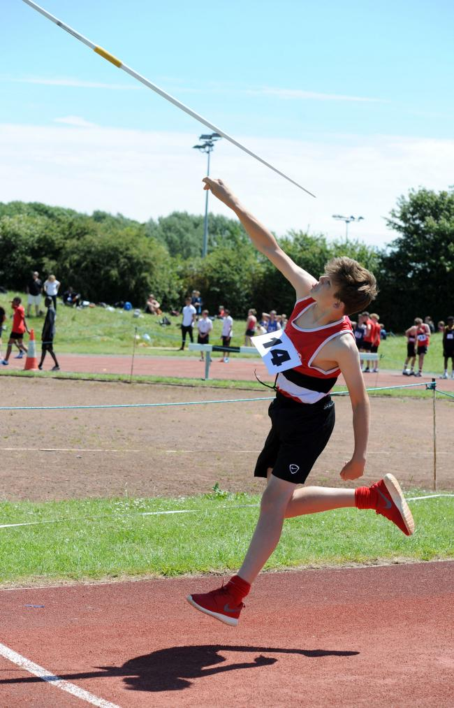 Big throw – Tom Green, from Mayflower School, in the Year 7 boys javelin