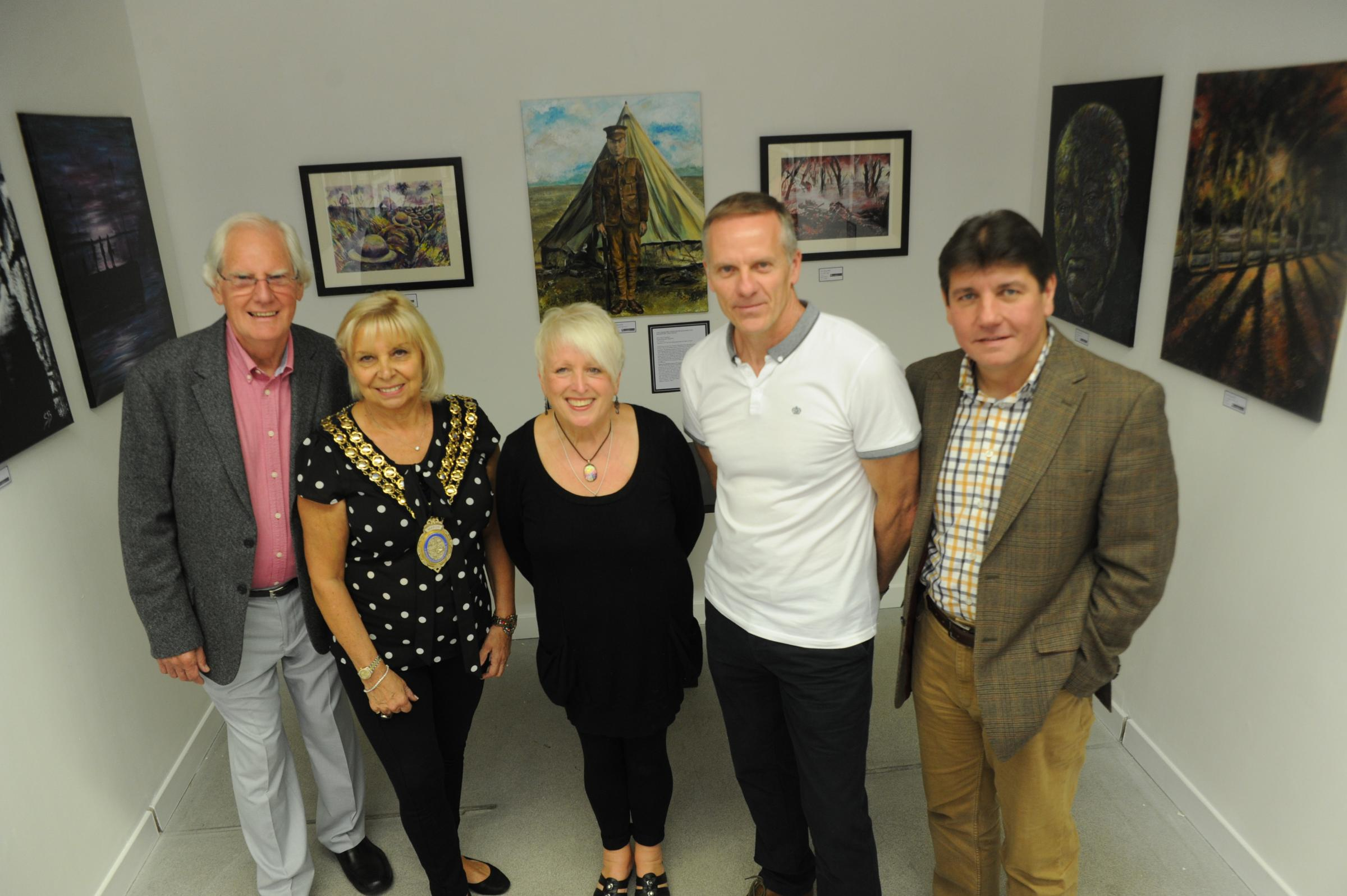 Come together – artist Vin Harrop, who founded the gallery, Basildon mayor Mo Larkin, artist Sue Barnfield, Phil Taylor, whose great uncle features in her exhibition, and and South Basildon and East Thurrock MP Stephen Metcalfe