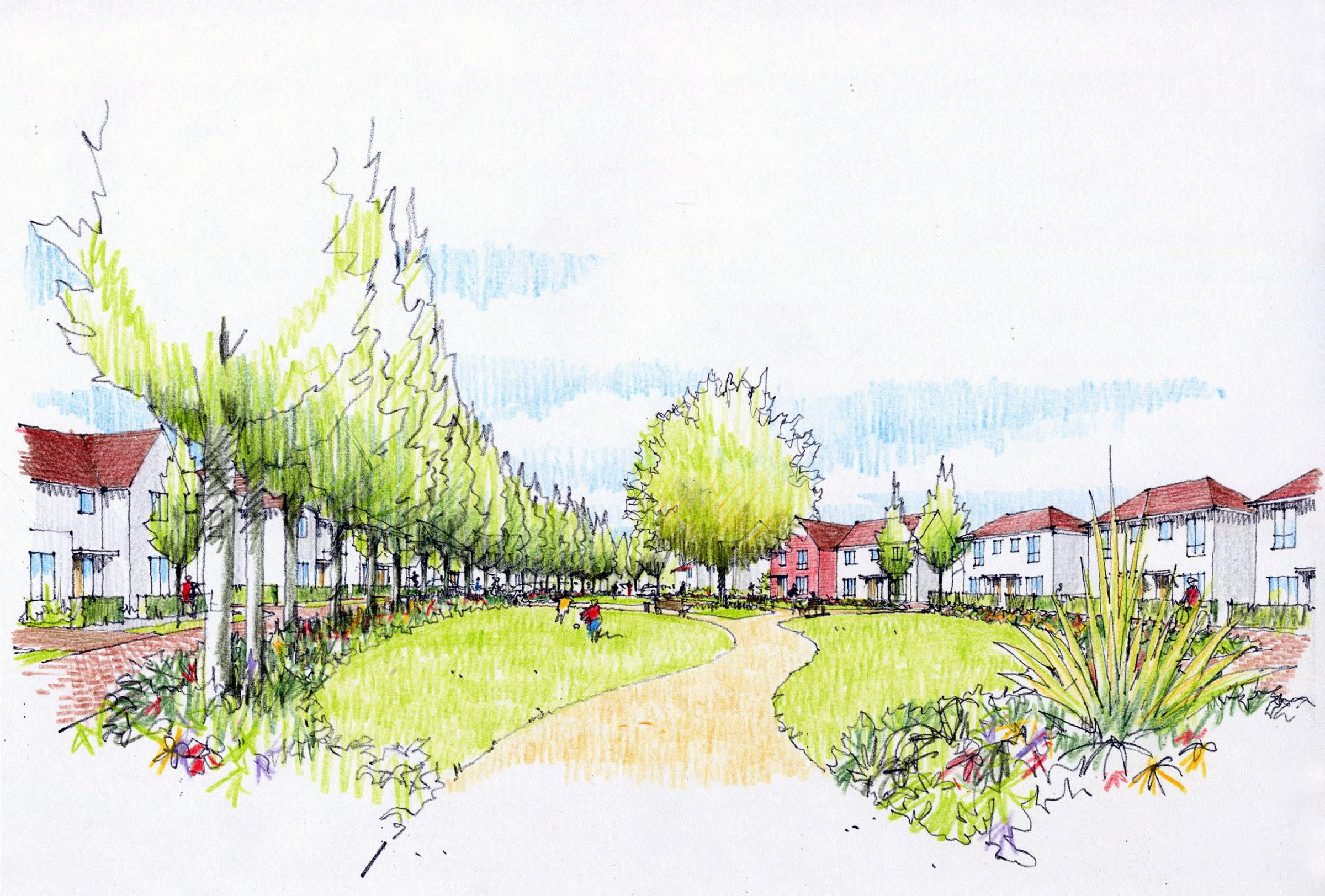 An artist's impression of the homes