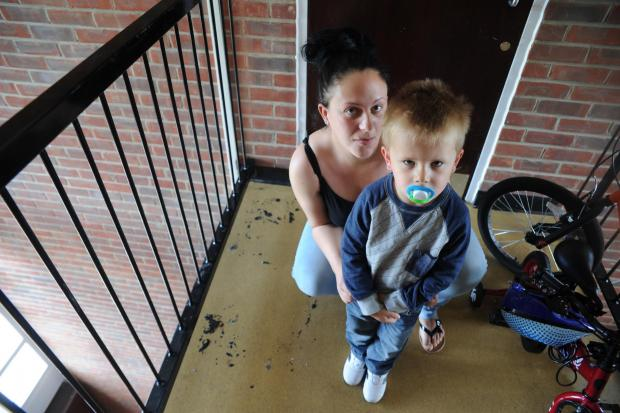 Terrified – Sarah Dennison with son Harry, three