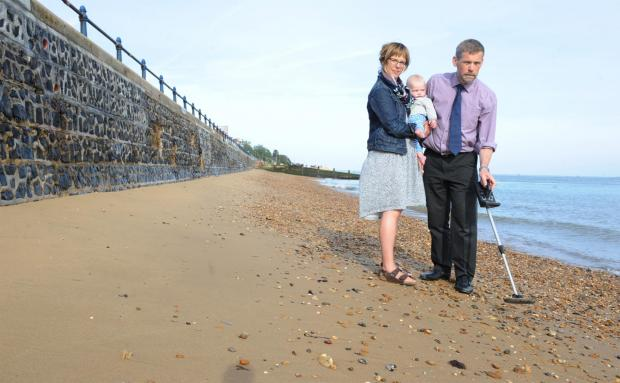 Beachcombing – Dominic Brasted hunts for his wedding ring with his wife, Charlie, and son Timothy