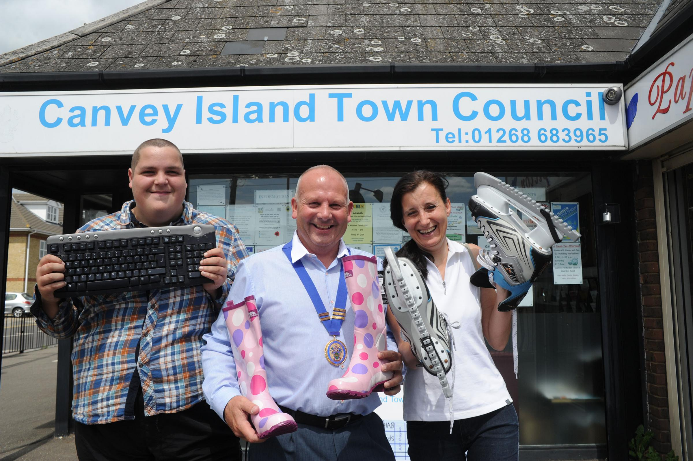 Grant – volunteer Ashley Garland, councillor Peter May and club leader Susan Folwell celebrate