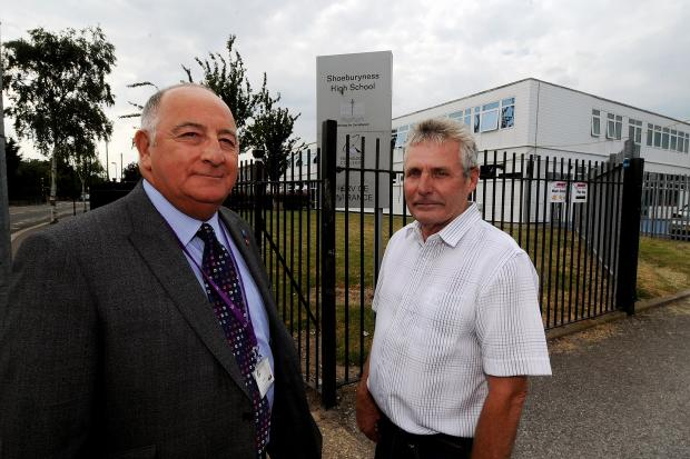 Councillor Mike Assenheim and former councillor Roger Hadley, outside the school