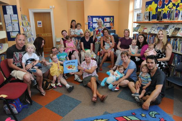 Echo: Great fun – storyteller Wendy Pearce, and youngsters, with parents