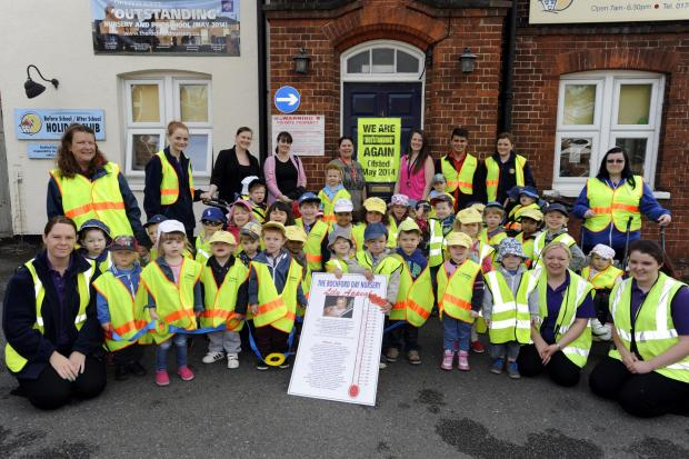 Ready for the off – the youngsters who took part in the walk