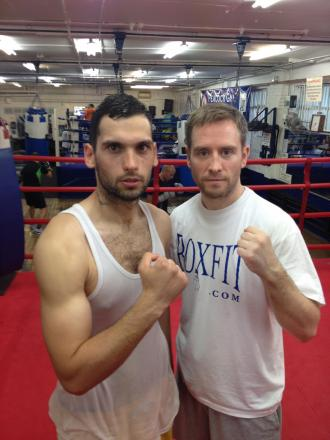 Packing a punch – Sam Stokes (left) with trainer Frank Greaves