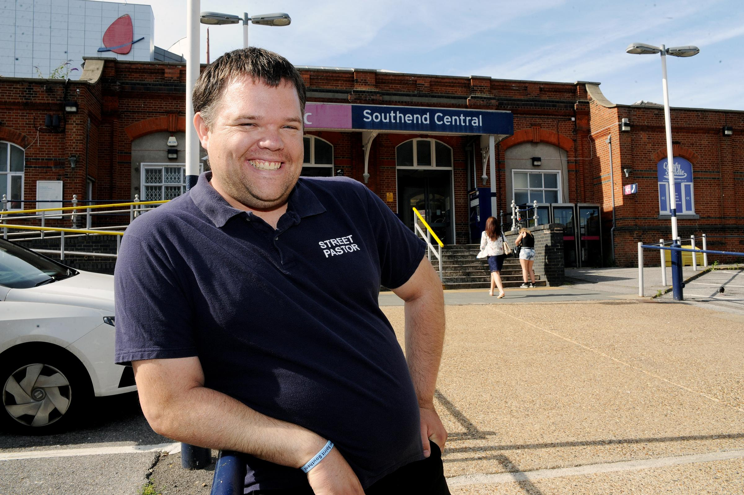 Place of safety – street pastors' leader Del Thomas at Southend Central station, where the last train leaves at 11.14pm