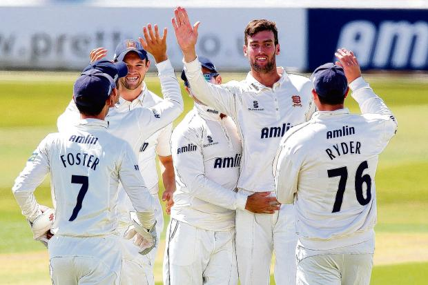 Reece Topley celebrates the wicket of Chris Dent, one of five he took today.  Pictures: Gavin Ellis/TGSPHOTO