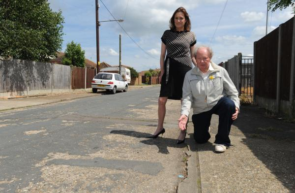 Delighted – Rebecca Harris MP and councillor Ray Howard in Burwell Avenue, Canvey