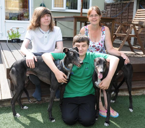 Scare – Dexter (left) and Timmy with owners Samantha Haynes and sons Charlie and Liam