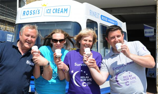 Ice cream lickers - Colin Gray, Nicola Hamilton, Leslie Fossett and Kieran Meikle are ready to help break the record