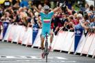 Vincenzo Nibali celebrates his victory on stage two