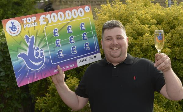 Cheers! Sonny Williamson, from Canvey, celebrates his £100,000 scratchcard win...and is now planning to splash out on a holiday