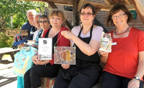Crafts – Wayne Mack, Peter Patterson, Sue Chapman, Iona Driver, Caroline Weidman and Hazle Boyles with the gifts they made