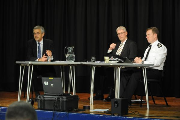Questioned – commissioner Nick Alston, deputy Lyndsey Whitehouse and Chief Constable Stephen Kavanagh at the meeti