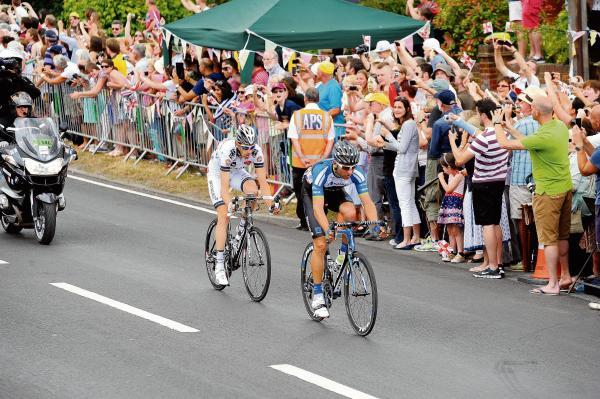 The two breakaway riders from stage three, Jan Barta and Jean-Marc Bideau, sweep throu
