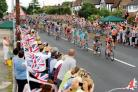 The main peloton sweeps through Chelmsford