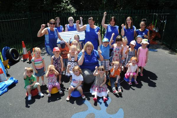 Party time – the youngsters and staff celebrate the annniversary