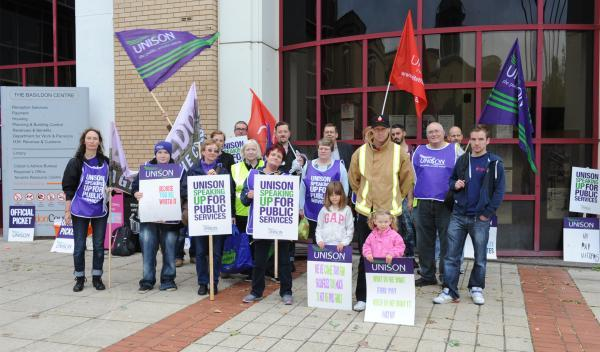 Workers outside the Basildon Centre