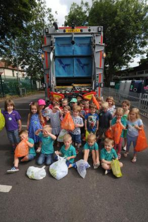 Recycling – pupils in Hockley Library car park