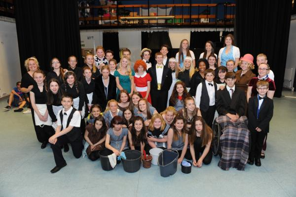 Deanes' cast- in rehearsal for Annie