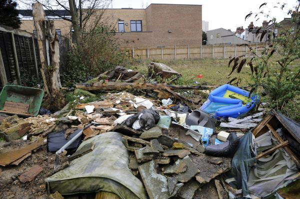 Flytipped rubbish at the site