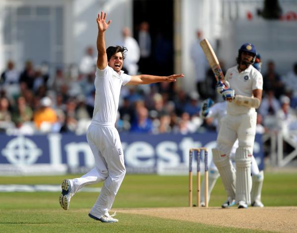 Alastair Cook celebrating his first Test wicket