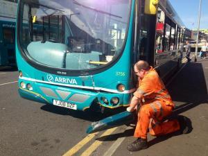 Bus damaged in collision
